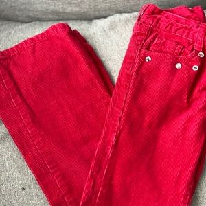 Girls Red corduroy bootcut pants